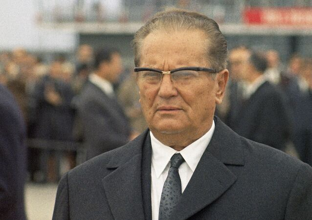 Close-up of President Josip Broz Tito of Yugoslavia, as he welcomes President Giuseppe Saragat of Italy at the Belgrade airport, Yugoslavia on Oct. 2, 1969, for the first state visit of an Italian President to neighboring Yugoslavia
