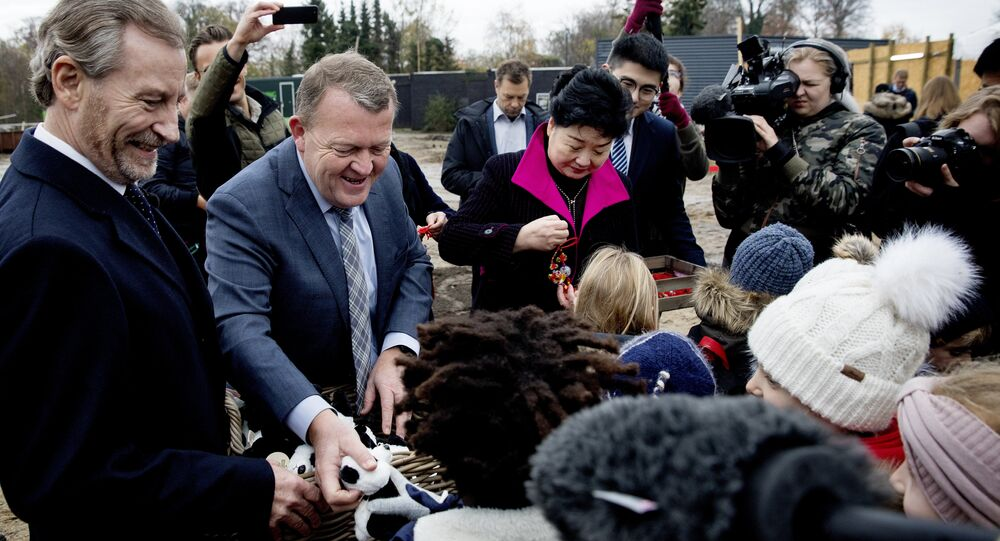 The Danish prime minister, Lars Loekke Rasmussen, centre left, and the Chinese Ambassador to Denmark, Deng Ying, centre right, hand out toys and tokens of good luck to children at a ceremony laying the foundation for a new giant panda facility in Copenhagen Zoo, Thursday, Nov. 16, 2017