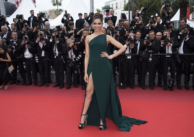 Deepika Padukone poses for photographers upon arrival at the screening of the film Loveless at the 70th international film festival, Cannes, southern France