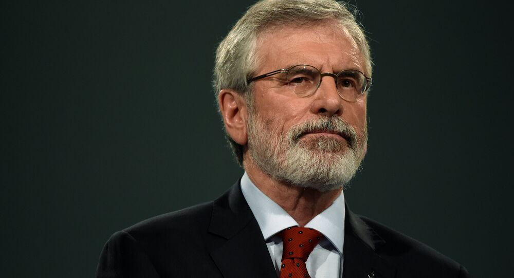 Sinn Fein President Gerry Adams delivers a speech at his party's annual conference in Dublin, Ireland November 18, 2017.