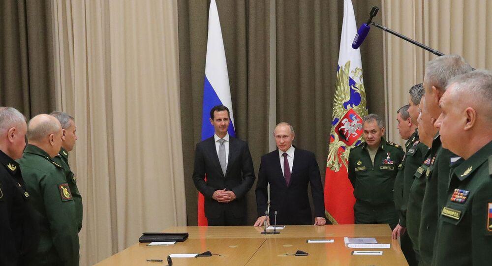 Vladimir Putin meets with Syrian President Bashar Al-Assad, November 2017