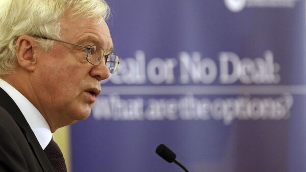 British Secretary of State for Exiting the European Union David Davis speaks to the ECR Deal or No Deal conference in Central Hall Westminster, London, Tuesday Nov. 21, 2017. - Sputnik International