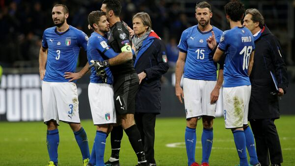 2018 World Cup Qualifications - Europe - Italy vs Sweden - San Siro, Milan, Italy - November 13, 2017 Italy's Giorgio Chiellini, Gianluigi Buffon and Andrea Barzagli look dejected after the match - Sputnik International