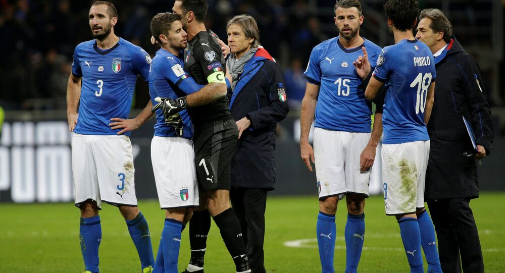 2018 World Cup Qualifications - Europe - Italy vs Sweden - San Siro, Milan, Italy - November 13, 2017 Italy's Giorgio Chiellini, Gianluigi Buffon and Andrea Barzagli look dejected after the match