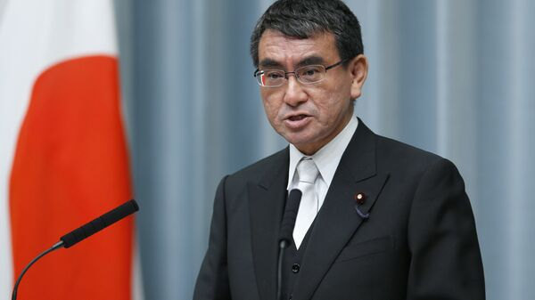 In this Aug. 3, 2017 file photo, Japan's Foreign Minister Taro Kono speaks during a press conference at the prime minister's official residence in Tokyo - Sputnik International