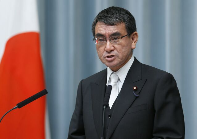 In this Aug. 3, 2017 file photo, Japan's Foreign Minister Taro Kono speaks during a press conference at the prime minister's official residence in Tokyo