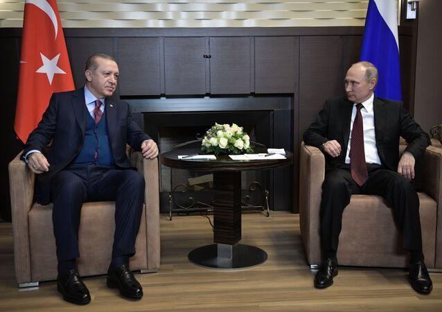 November 13, 2017. Russian President Vladimir Putin and Turkish President Recep Tayyip Erdogan (left) during the meeting