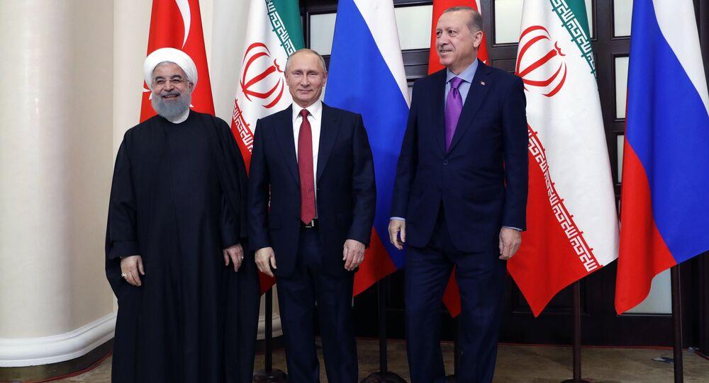 Meeting of Russian President Vladimir Putin, President of Iran Hassan Rouhani and President of Turkey Recep Tayyip Erdogan