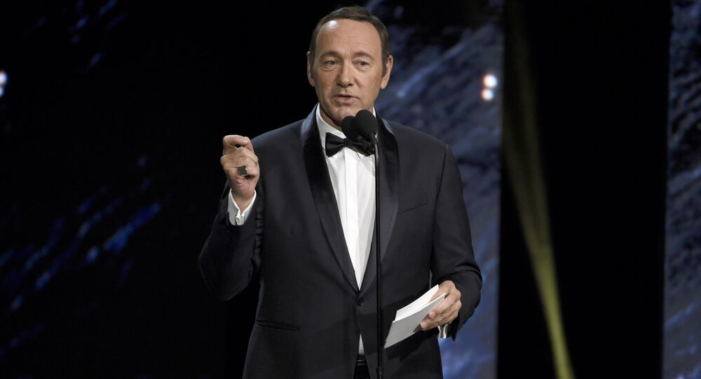 In this Oct. 27, 2017 photo, Kevin Spacey presents the award for excellence in television at the BAFTA Los Angeles Britannia Awards at the Beverly Hilton Hotel in Beverly Hills, Calif.