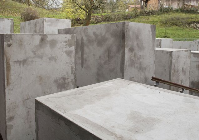 Blocks are placed on a property adjacent to Alternative for Germany lawmaker Bjoern Hoecke's home in the village of Bornhagen, eastern Germany