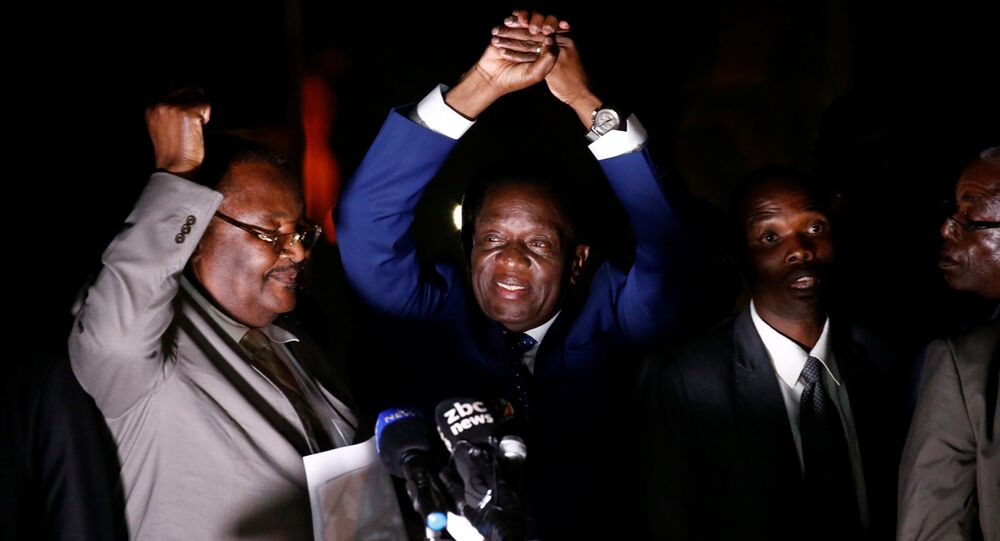 Zimbabwe's former Vice-President Emmerson Mnangagwa, who is due to be sworn in to replace Robert Mugabe as President, addresses supporters in Harare, Zimbabwe, November 22, 2017.