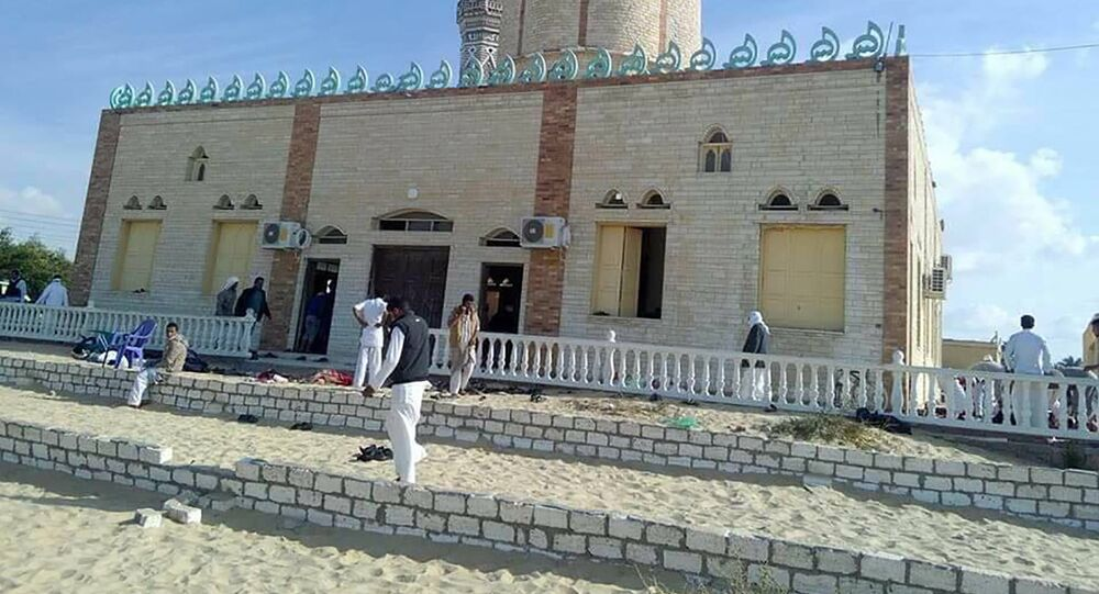 View of the Rawda mosque, roughly 40 kilometres west of the North Sinai capital of El-Arish, after a gun and bombing attack
