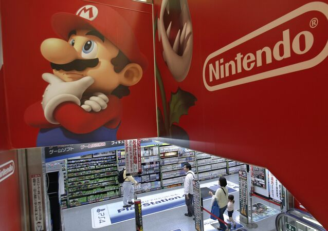 Logo of Nintendo and Super Mario characters at an electronics store in Tokyo. (File)