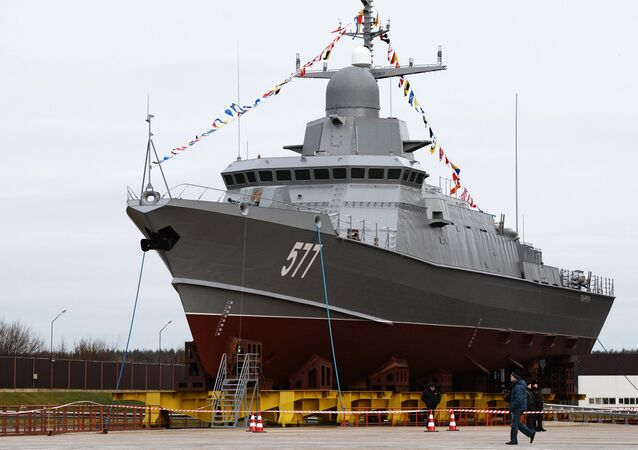 Taifun, a Karakurt-class corvette, at the Pella shipyard, Leningrad region