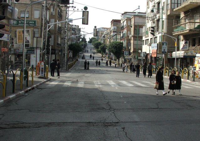 Shabbat on main street in Bnei Brak, Israel.