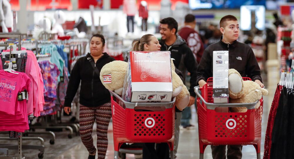 Customers navigate through the aisles during the Black Friday sales event on Thanksgiving Day at Target in Chicago, Illinois, U.S. November 23, 2017