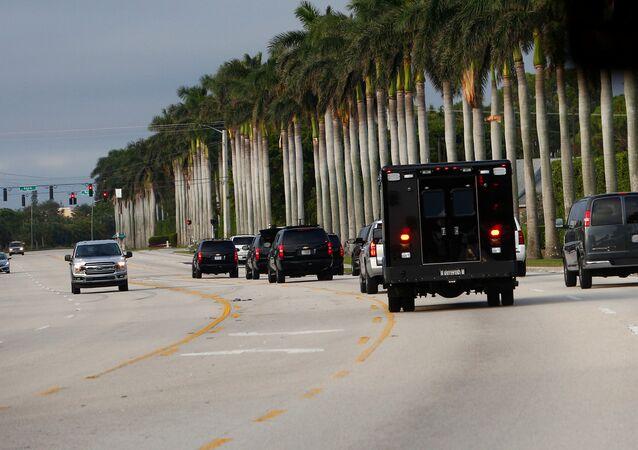 The motorcade of U.S. President Donald Trump arrives at Trump International Golf Club in West Palm Beach, Florida, U.S., November 25, 2017