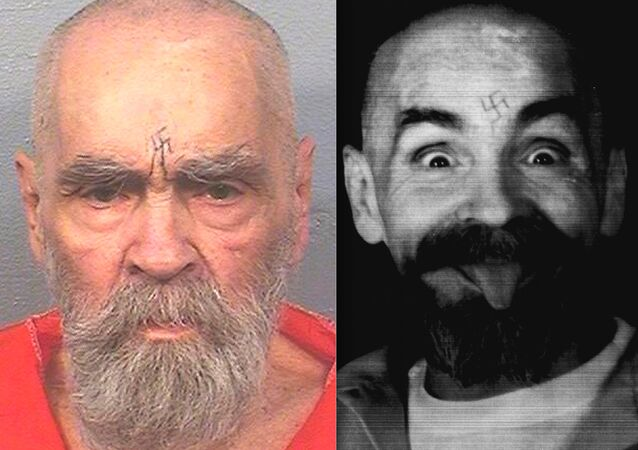a montage of two file images, 1989 (r.) and 2017 (l.) depicting mass murderer and cult leader Charles Manson who was jailed for life in the 1969 killings of 6 people, including an unborn child (Reuters images)