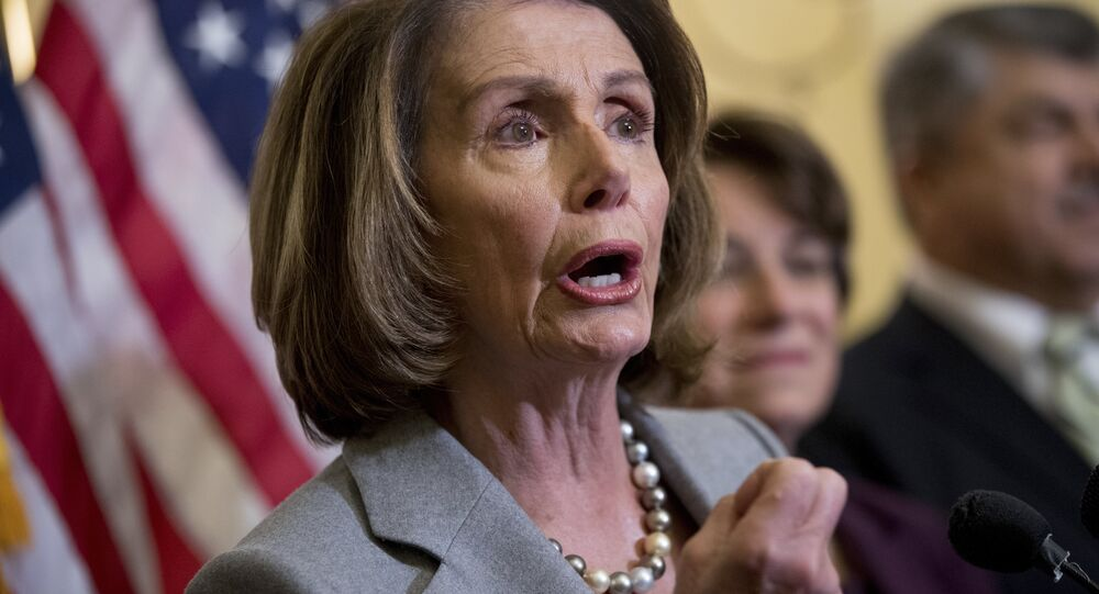 From left, House Minority Leader Nancy Pelosi of Calif., accompanied by Sen. Amy Klobuchar, D-Minn., and AFL-CIO President Richard Trumka, speaks at a news conference on American labor on Capitol Hill in Washington, Wednesday, Nov. 1, 2017