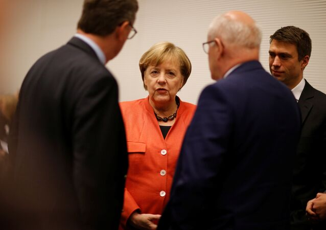German Chancellor Angela Merkel attends a meeting of the CDU/CSU parliamentary group at the Bundestag in Berlin, Germany, November 20, 2017