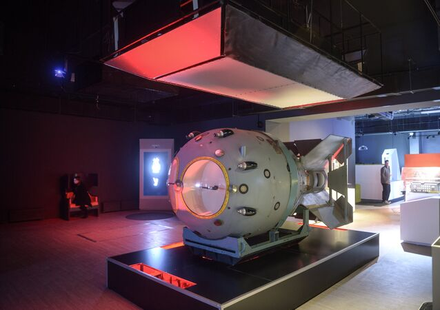An item Atomic bomb displayed at the exhibition in Moscow which highlights achievements of Russian science. (File)
