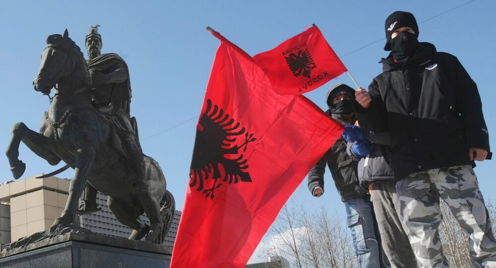 Albanian flag at the street in Pristina. (File)