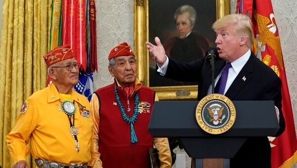 U.S. President Donald Trump gestures as he hosts an event honouring the Native American code talkers, including Thomas Begay (L) and Peter McDonald, in front of a painting of President Andrew Jackson, at the White House in Washington, U.S., November 27, 2017. - Sputnik International