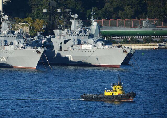 Vladivostok, Russia. Pacific Fleet warships in the local Zolotoi Rog (Golden Horn) Harbor