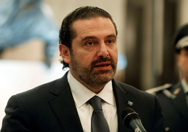 Saad al-Hariri who suspended his decision to resign as prime minister talks at the presidential palace in Baabda, Lebanon November 22, 2017