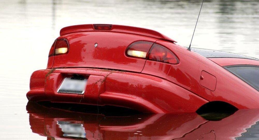 Car sinking in high water