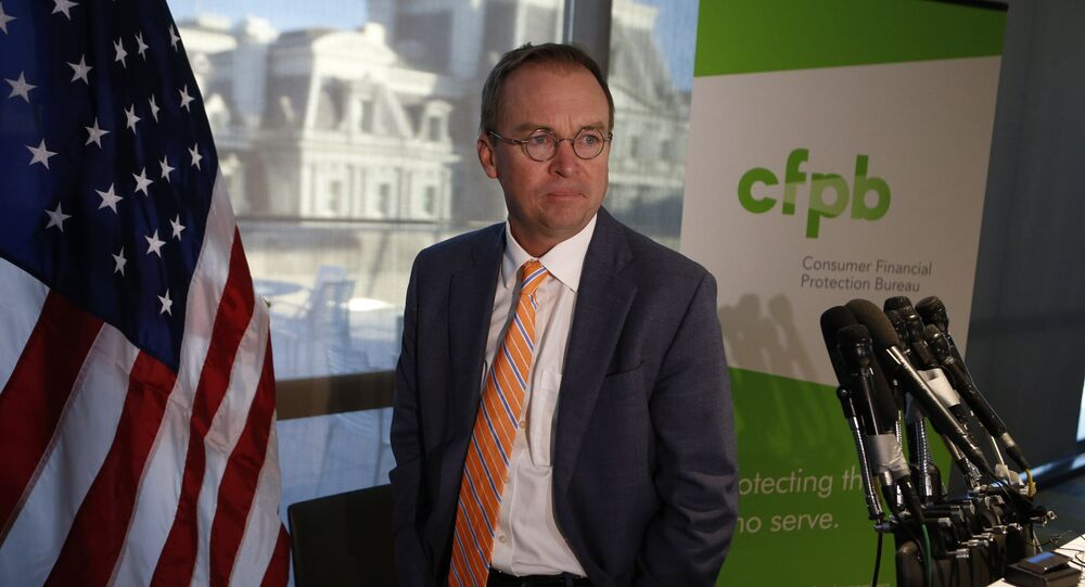 Office of Management and Budget (OMB) Director Mick Mulvaney arrives to speak to the media at the U.S. Consumer Financial Protection Bureau (CFPB), where he began work earlier in the day after being named acting director by U.S. President Donald Trump in Washington November 27, 2017