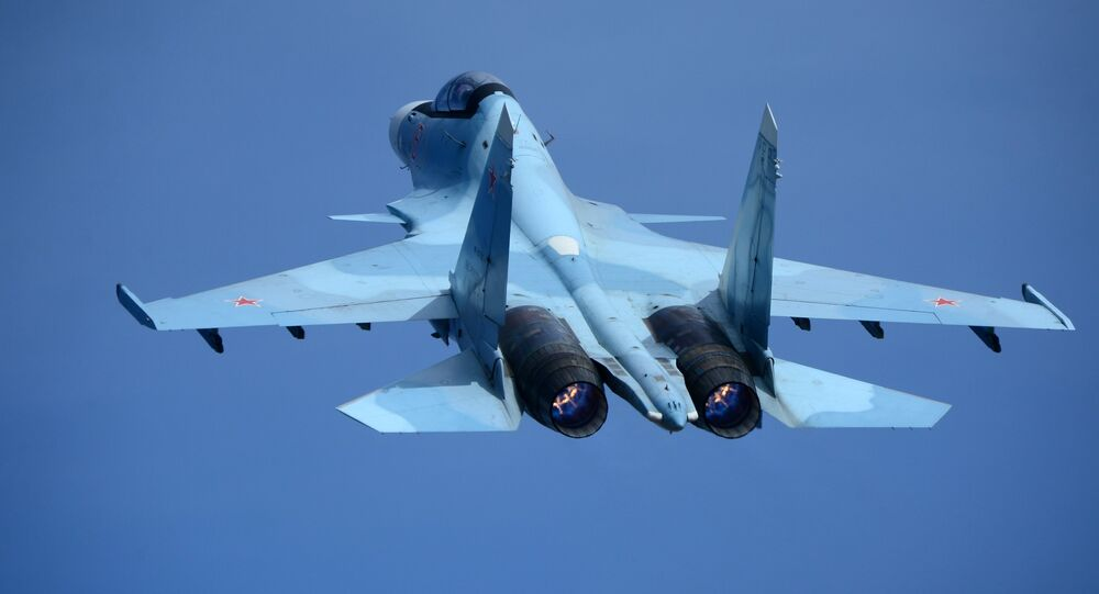 A Su-30 interceptor at the second qualification round of the Aviadarts 2017 regional military aviation competition at the Tsentralnaya Uglovaya airfield in the Primorye Territory