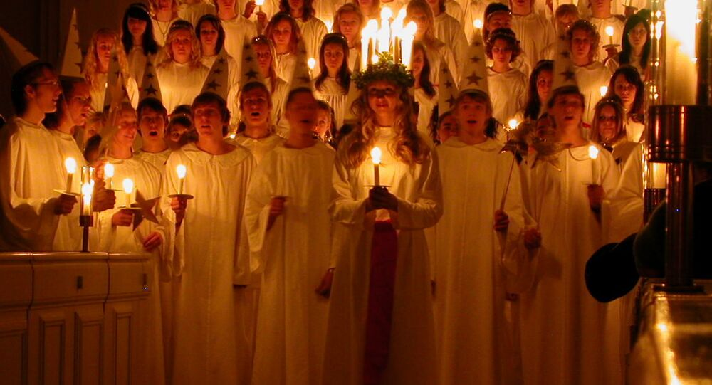 Saint Lucia procession in Sweden