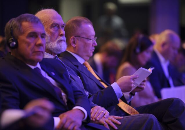 Prince Michael of Kent (center) with President Minnikhanov of Tatarstan (left) and Russian Ambassador Alexander Yakovenko (right) at the Russian-British Business Forum