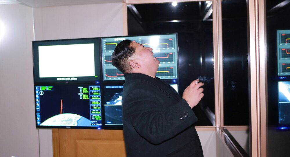 North Korea's leader Kim Jong-un is seen as the newly developed intercontinental ballistic rocket Hwasong-15's test was successfully launched, in this undated photo released by North Korea's Korean Central News Agency (KCNA) in Pyongyang November 30, 2017