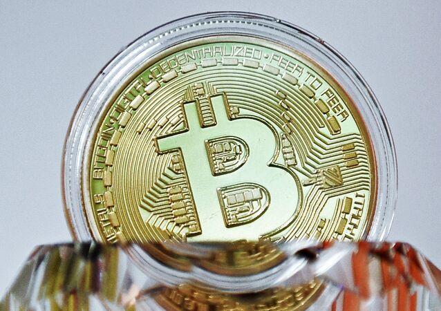 A souvenir coin of the bitcoin