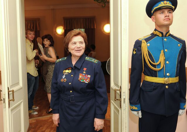 Military test pilot Marina Popovich at the celebration of her jubilee in the garrison House of Officers of the Moscow Military District. (File)