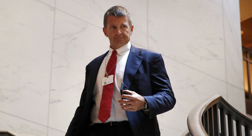 Blackwater founder Erik Prince arrives for a closed meeting with members of the House Intelligence Committee, Thursday, Nov. 30, 2017, on Capitol Hill in Washington
