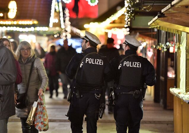 Police at the Christmas market in Essen in Germany