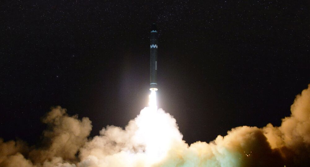 A view of the newly developed intercontinental ballistic rocket Hwasong-15's test that was successfully launched is seen in this undated photo released by North Korea's Korean Central News Agency (KCNA) in Pyongyang November 30, 2017