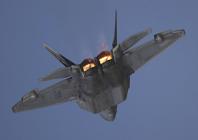 A U.S. F-22 Raptor performs during the Dubai Air Show, United Arab Emirates, Monday, Nov. 13, 2017.