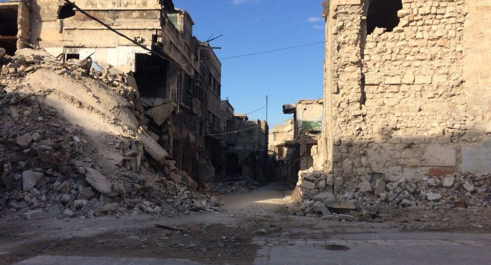 Destroyed buildings in Aleppo. File photo