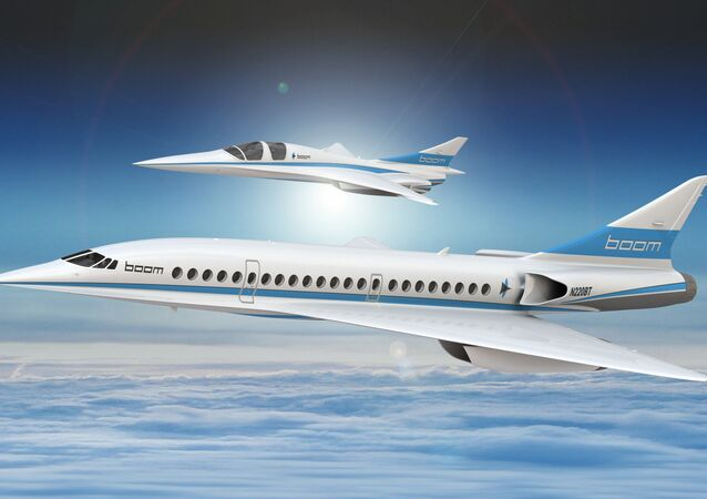 An artist's impression shows Boom's 55-seat supersonic aircraft (below) and Boom's XB-1 supersonic demonstrator in this undated handout obtained by Reuters December 4, 2017.
