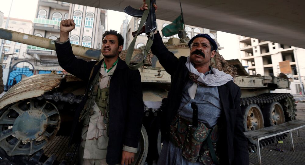 Houthi fighters in Sanaa, Yemen