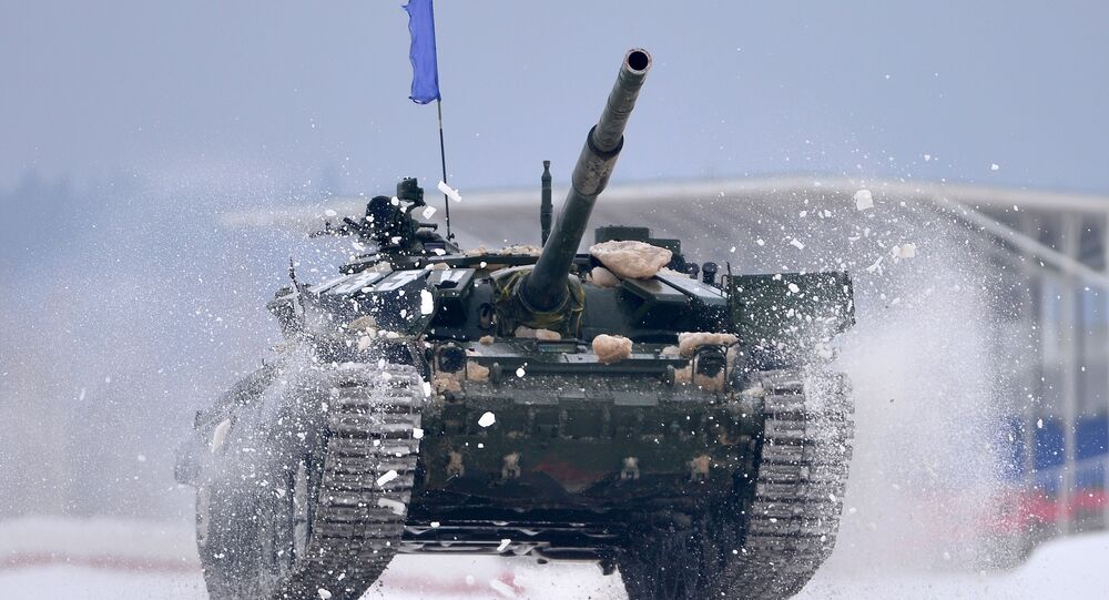 T-72 tank in action at the Tank Biathalon-2016 competition in Albino, Moscow region.