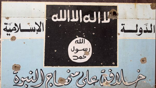 A picture shows a mural depicting the emblem of the Islamic State (IS) group as Iraqi forces, backed by fighters from the Hashed al-Shaabi (Popular Mobilisation units), advance through Hawija on October 5, 2017, after retaking the city from Islamic State (IS) group fighters. - Sputnik International