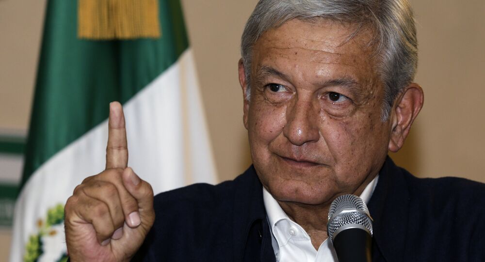 Presidential hopeful Andres Manuel Lopez Obrador gives a press conference in Mexico City
