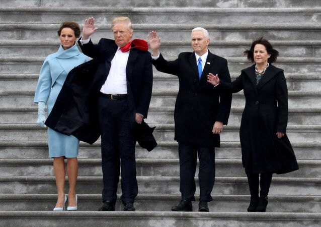 US First Lady Melania Trump, President Donald Trump, Vice President Mike Pence and Karen Pence