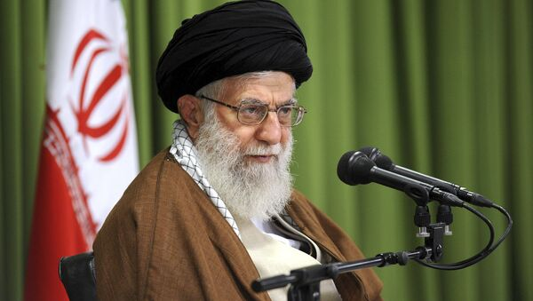 In this photo released by an official website of the office of the Iranian supreme leader, Supreme Leader Ayatollah Ali Khamenei speaks at a meeting in Tehran, Iran, Wednesday, Oct. 18, 2017 - Sputnik International