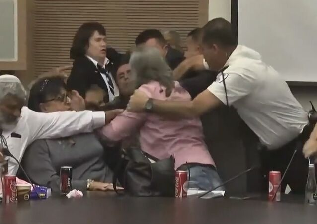 A video has emerged on YouTube showing a melee during a session of the Israeli Knesset (Parliament)'s Labor, Welfare and Health Committee
